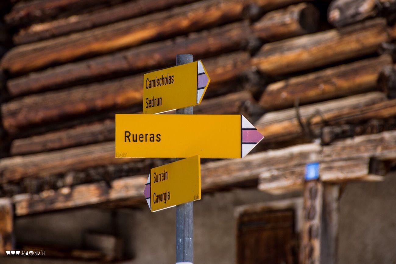 Sedrun Rueras Graubünden Wanderweg Signs SignSignEverywhereASign Switzerland Schweiz Surselva Suisse