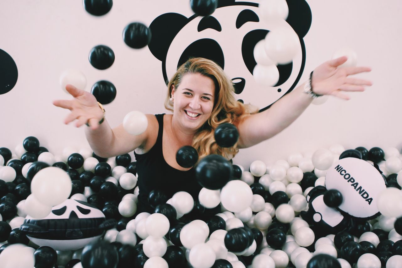 Panda Refinery Refinery29 29rooms Art Ballpit NYC Bushwick Girl Balls Blackandwhite