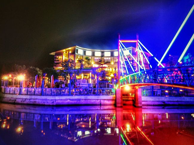 Night Lights Cafe Hdr_Collection Riverside Bridge Architecture