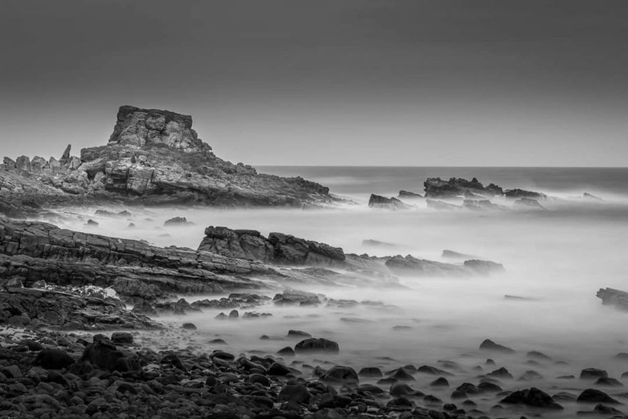 Rock - Object Rock Formation Landscape Nature Sea No People Outdoors Beach Horizon Over Water Beauty In Nature Fog Mountain Scenics Day Sky Black And White Fife Scotland Scotland Nature Long Exposure