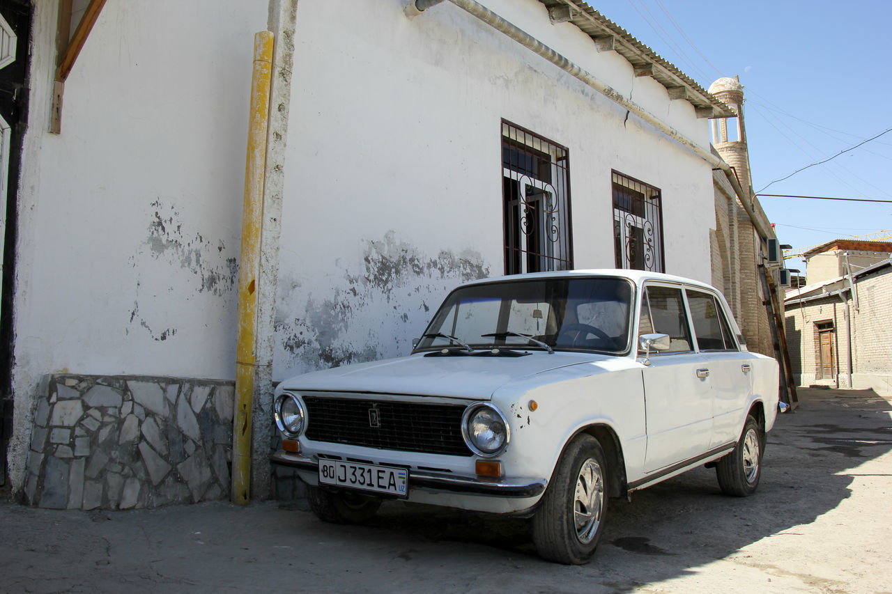 Architecture Building Exterior Built Structure Bukhara Day LADA Land Vehicle Mode Of Transport No People Old-fashioned Outdoors Russian Car Silk Road Stationary Street Transportation Uzbekistan