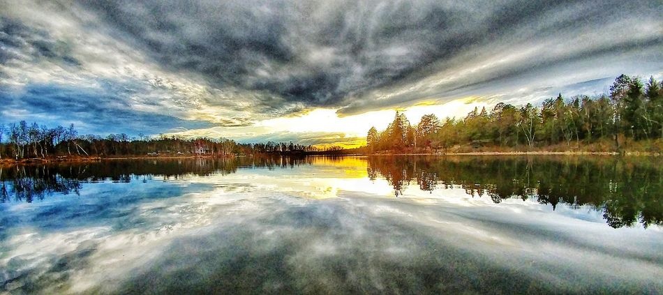 Reflection Lake Water Cloud - Sky Sky Nature Outdoors Tranquility Scenics No People Beauty In Nature Tree Day EyeEm Best Shots Dramatic Sky Horizon Over Water Minnesota Nature Tranquil Scene Sunset Reflection Nature Landscape Minnesotaphotographer Beauty In Nature Minnesota Lake