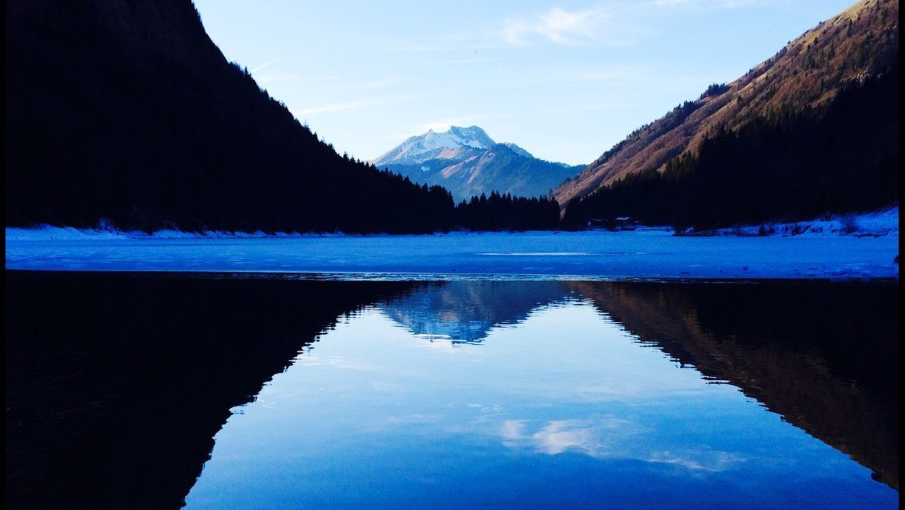 mountain, reflection, tranquil scene, scenics, beauty in nature, tranquility, lake, nature, water, sky, blue, no people, mountain range, outdoors, day