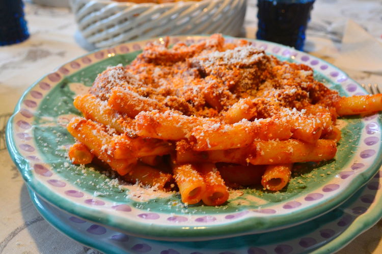 Lunch Ragu Alimentation Carbohydrates Close-up Day Food Food And Drink Freshness Healthy Eating Indoors  Italian Food Italian Lifestyle Maccheroni Mediterranean Diet No People Parmigliano Pasta Plate Ready-to-eat Serving Size Table