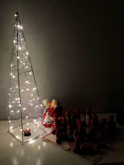 Santa with helpers Indoors  Christmas Still Life Celebration Illuminated Christmas Decoration No People Christmas Lights Night