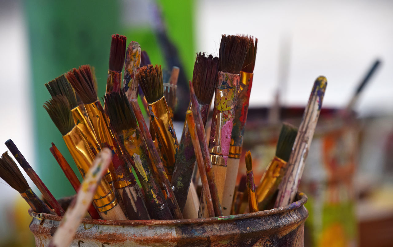 Paint brushes on a desctop of art studio Art Art And Craft Bright Brush Brushes Colors Creative Creativity Desktop Drawing Ideas Multicolor Paint Paint Brush Paintbrush Painter Painting Studio Table Tools Vivid Your Design Story