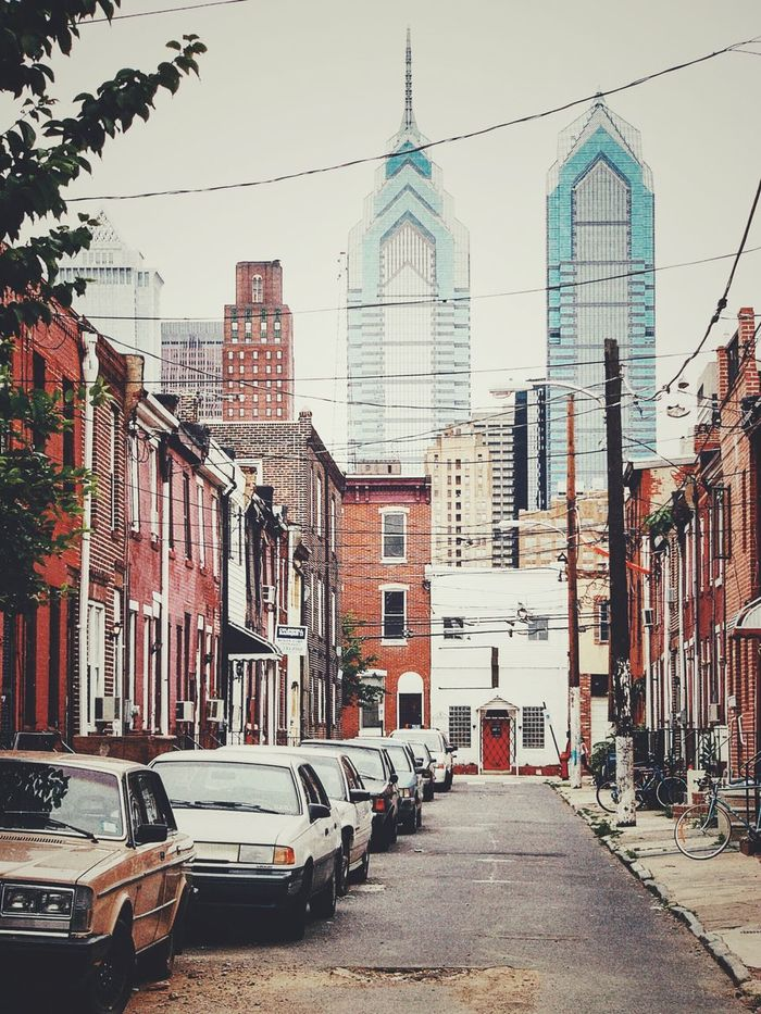 Looking down the street. Philadelphia Urban Landscape Looking Around From My Doorstep Cityscapes