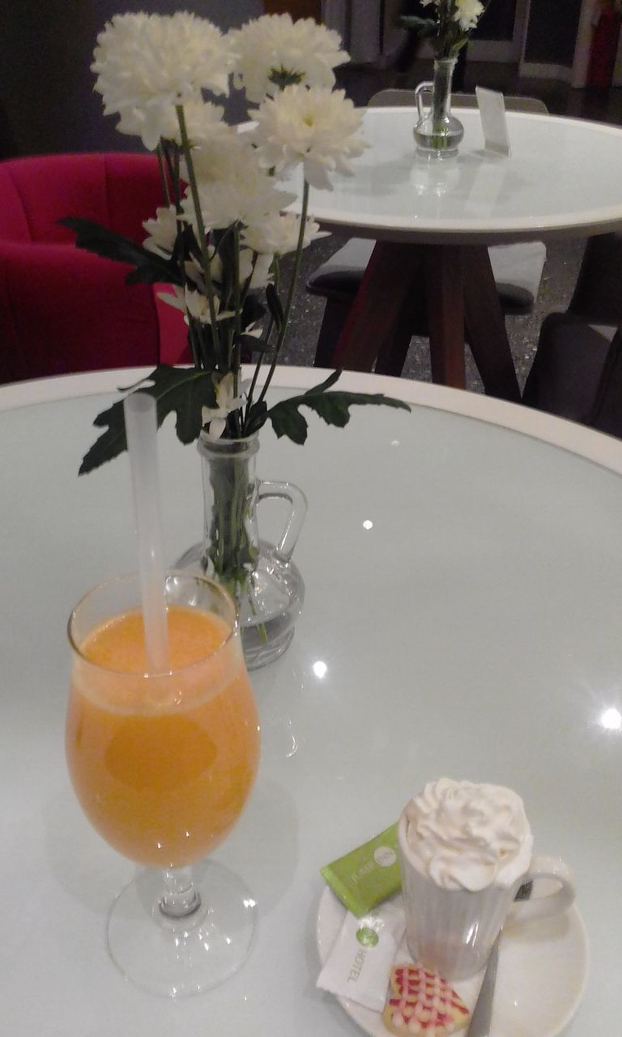 Bottle Break Time Close-up Coffee With Cream Day Drink Drinking Glass Flower Food Food And Drink Fresh Orange Juice Freshness Healthy Eating Indoors  Moment Of Pleasure No People Orange Juice  Plate Pleasure Ready-to-eat Refreshment Serving Size Sweet Moments Table Vase