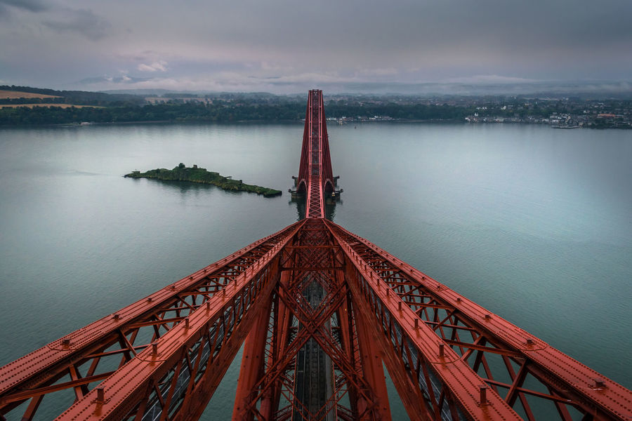 My view from the top of the Forth Rail Bridge. Railroad Track Architecture Beauty In Nature Bridge - Man Made Structure Built Structure Cloud - Sky Day Fog Island Nature No People Outdoors Rail Red Scenics Sea Sky Travel Destinations Water