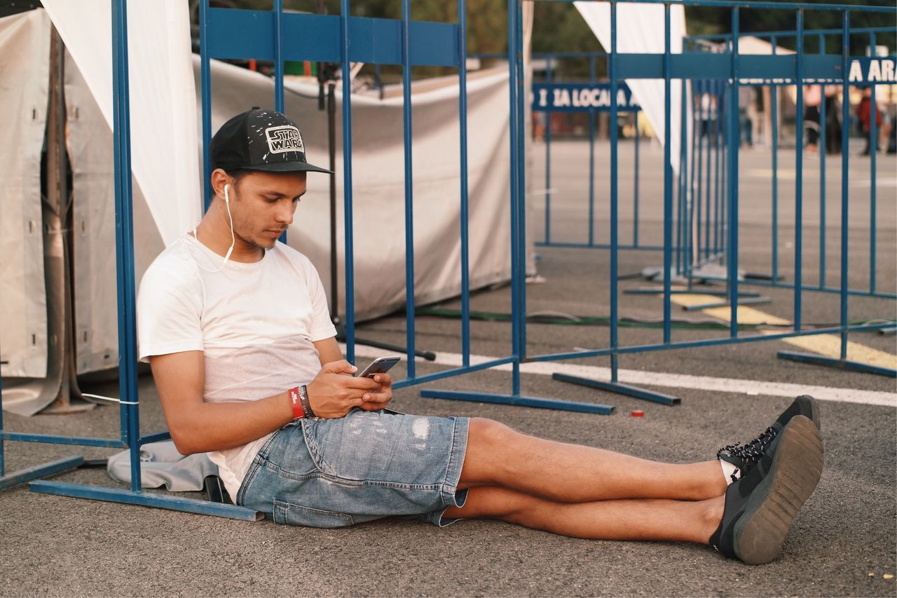 Inspiration... Young Adult Texting Music Listening To Music Summer Relaxing Relax Youth Of Today Youth Culture Mobile Smartphone Cap Sitting City Life Street Made In Romania VSCO My Favorite Photo Details Of My Life Fresh On Eyeem  Moments Of Life Inspirational Cool People Outdoors