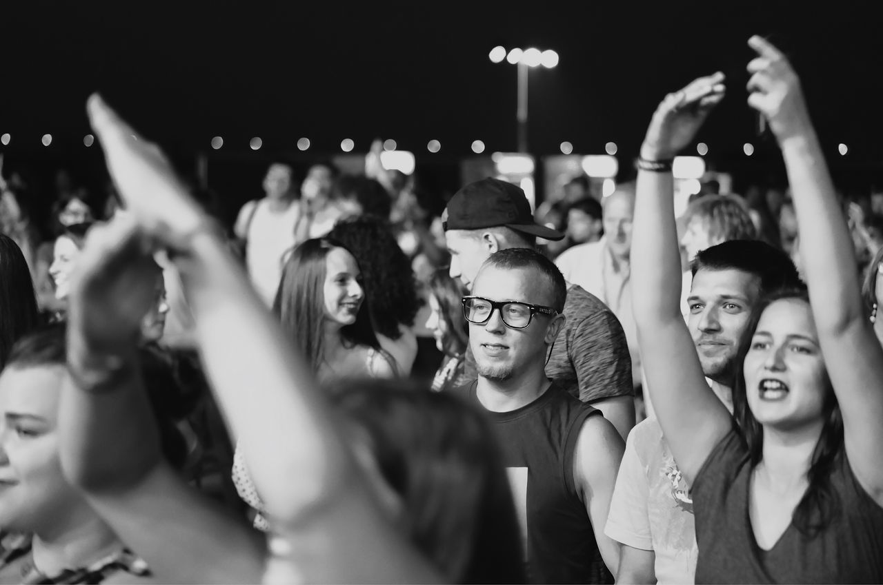 Listening to favorite band... Enjoyment Crowd Cheering Arms Raised Popular Music Concert Audience Music Party - Social Event Nightlife Arts Culture And Entertainment Fun Excitement Smiling Happiness Night Cheerful Celebration Concert Concert Photography VSCO City Urban Found On The Roll Details Of My Life My Favorite Photo