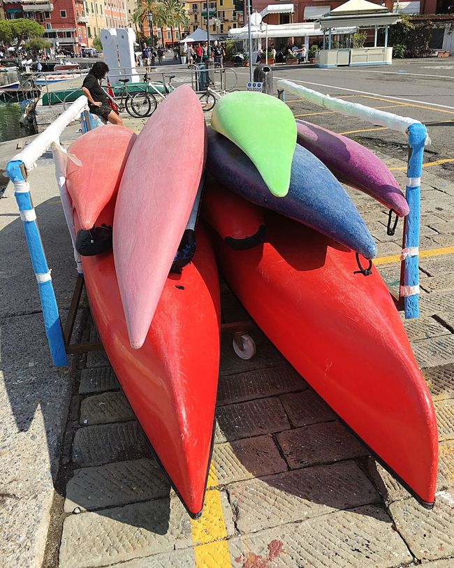 Empty Vibrant Color Street Incidental People Footpath Paving Stone Group Of Objects Day Red Multi Colored Outdoors City Life Tourism Lerici Canoes