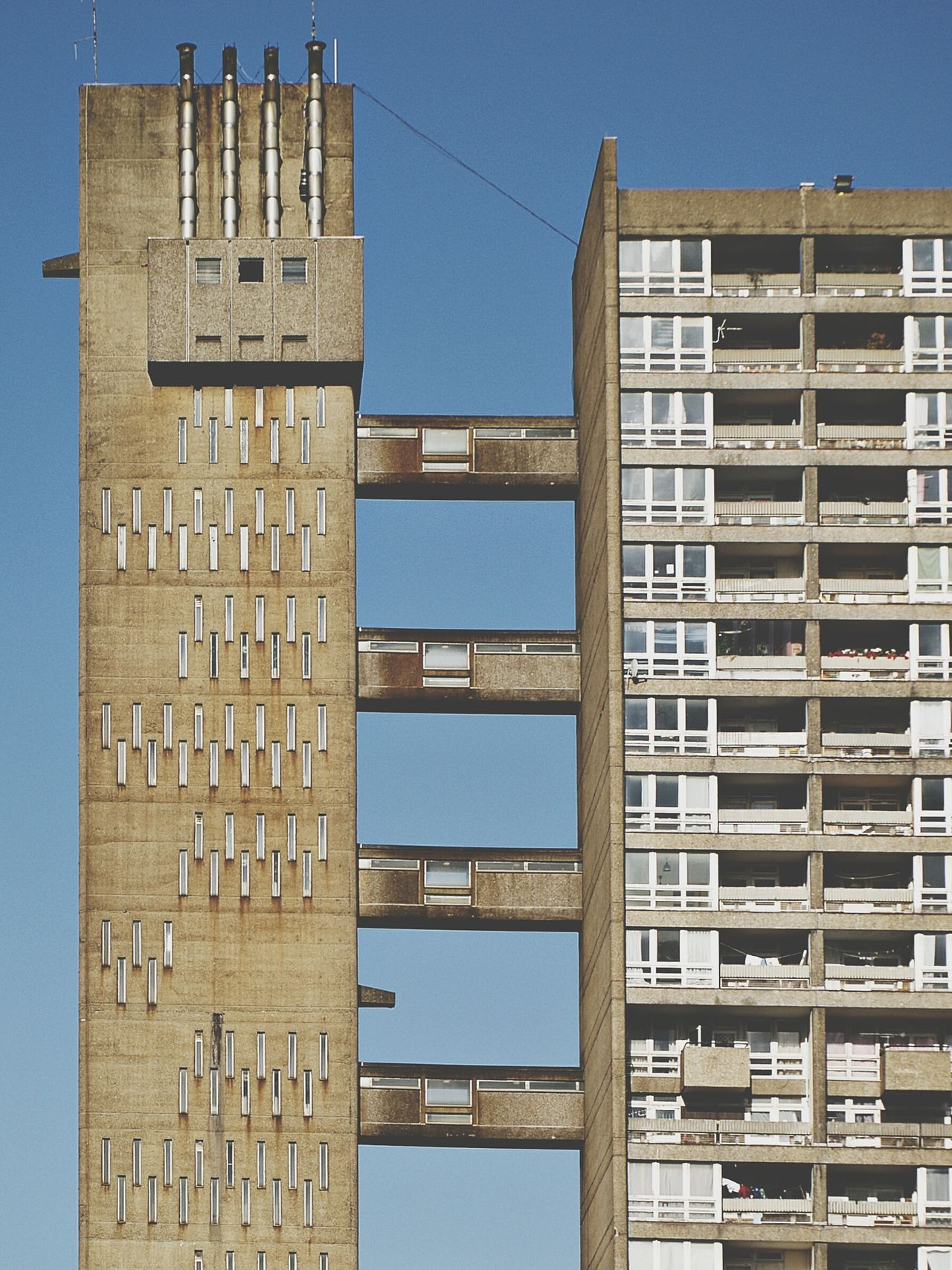 Architecture building exterior tower built structure Sunny outdoors Cityscape urban skyline concrete jungle concrete postmodern architecture housing estate postmodernism Architecture London trellick tower