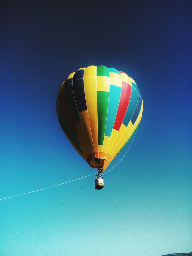 To the skies Transportation Multi Colored Blue Mode Of Transport Mid-air Vibrant Color Flying Hot Air Balloon Outdoors No People Adventure ColorfulNature Sevastopol  Baloon Sky Wilderness Non-urban Scene
