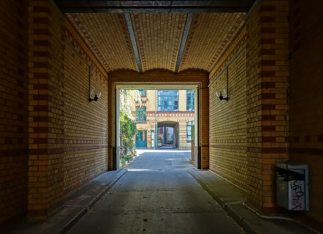 Alley Arch Arched Architecture Backyard Building Exterior Built Structure City Day Diminishing Perspective Empty Entrance Entrance Gate Footpath Hauseinfahrt Hinterhof Kreuzberg Leading Long Narrow No People Pathway Pedestrian Walkway The Way Forward Walkway
