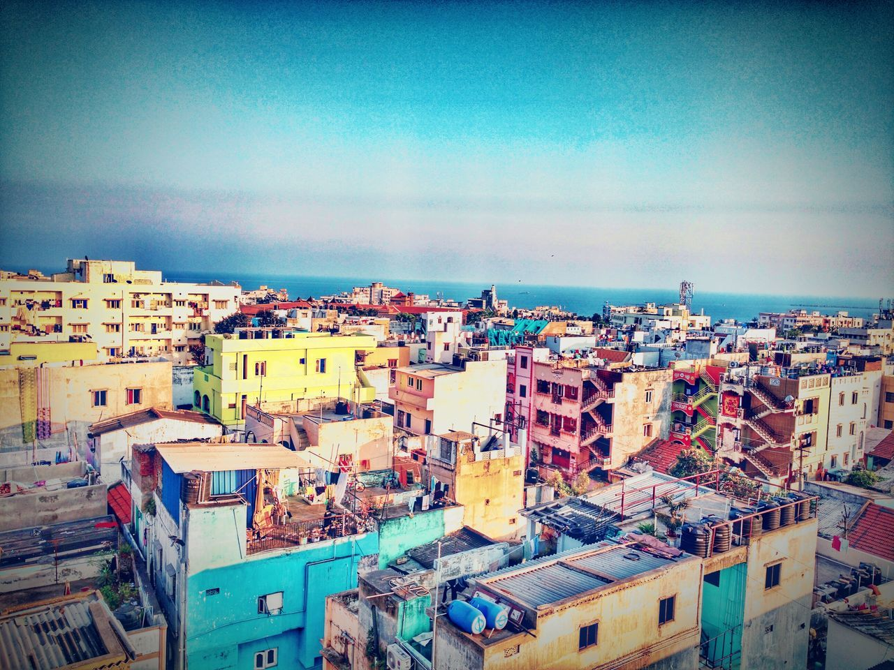 Sky Tranquility Visakhapatnam High Angle View City Crowded Rooftop City Life Cityscape Clear Sky Blue