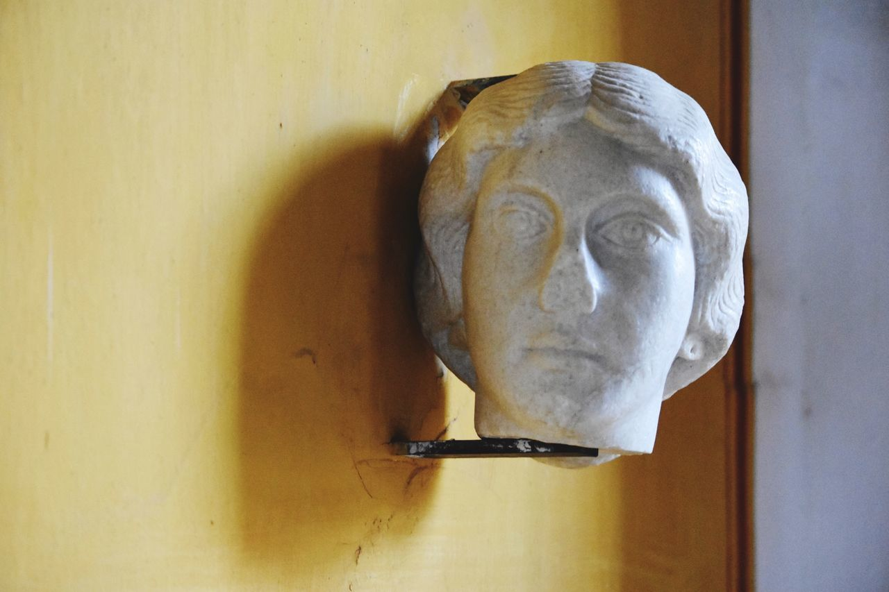 Roman Sculpture Ancient History Textures And Surfaces Respect For The Good Taste EyeEm Best Shots Let's Do It Chic! Eye4photography  Exceptional Photographs Stone Sculpture Close-up HEAD Rustic Style Tranquility Shadows & Lights Yellow Wall White Stone