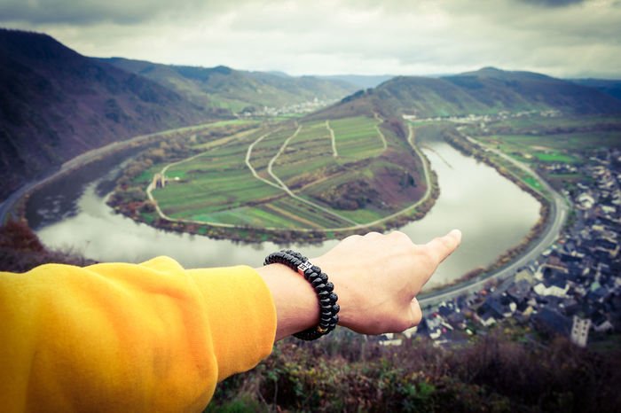 Human Body Part Human Hand One Person Personal Perspective Human Arm Agriculture People Adults Only Adult One Woman Only Only Women Nature Landscape Women Beauty In Nature Outdoors Real People Day Close-up Young Adult Mosel River In Germany Moselschleife Mosel Men Germany