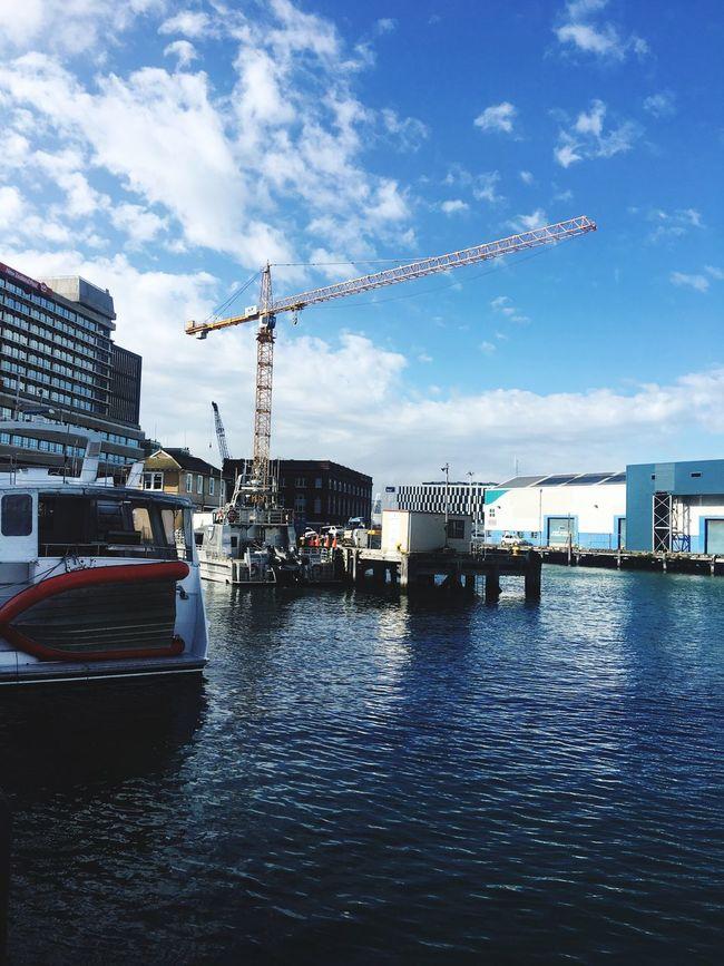 Construction crane around the waterfront Sky Water Waterfront Crane Construction Crane