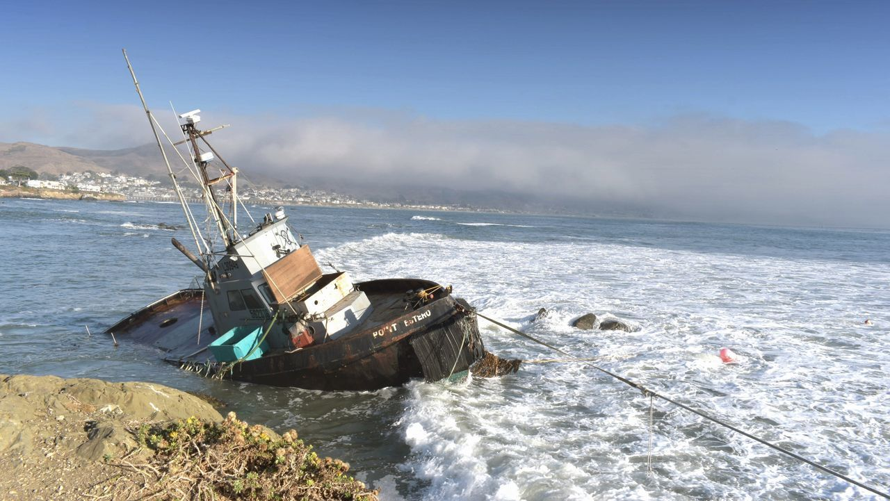 Cayucos, CA California Shipwreck Waves Fog Bank Ocean Stranded Boat Sea Abandoned Nautical Vessel Damaged Crash Transportation No People Sinking Nature Water Outdoors Day Sky Sunken Whatever No Budget Photography