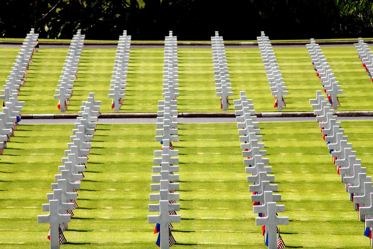 High Angle View Of White Crosses At Saint-Laurent-Sur-Mer American Cemetery