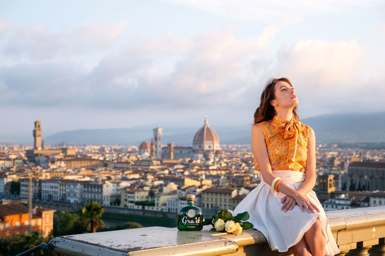 Morning view over Florence. Commercial shot for Gra'it by Bonollo grappa. Architecture Beautiful Woman Beauty City Cityscape Cloud - Sky Colorful Commercial Fashion Florence Florence Italy Italy Italy❤️ Lovely Morning Light One Woman Only Outdoors Portrait Tourist Travel Travel Destinations Urban Skyline Vacations Women