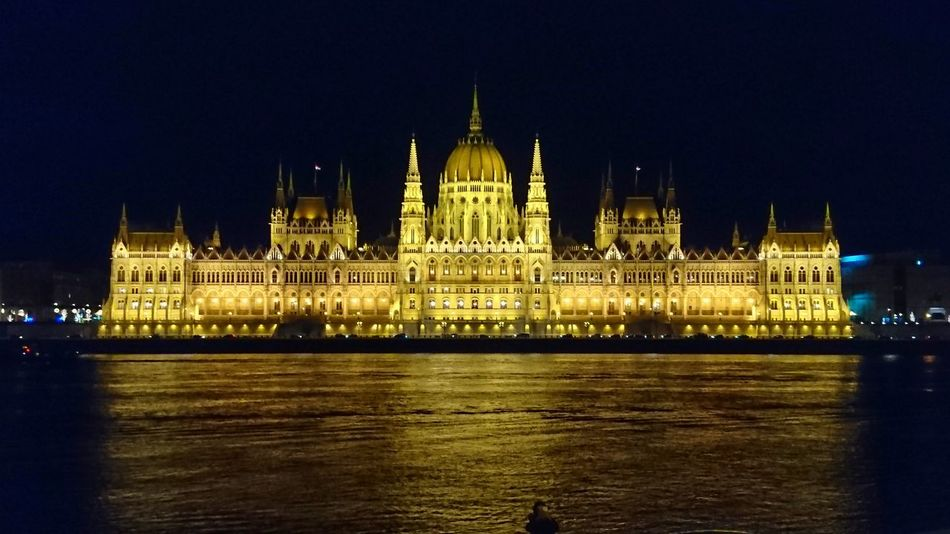 Budapest, Hungary Orszaghaz Parliament Architecture Politics And Government Night City