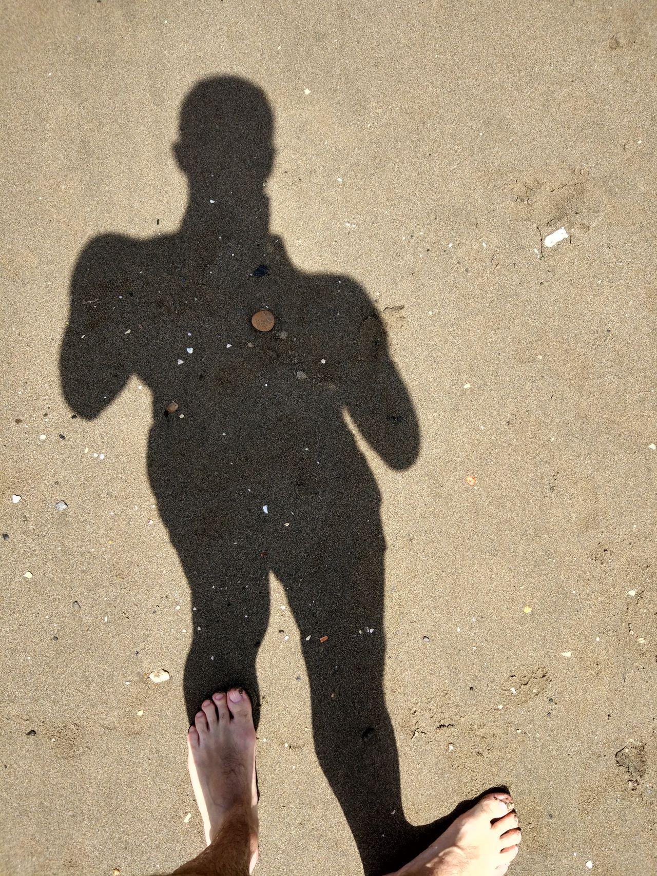 Benalmádena Beach Sand Shadow Sun Sunlight High Angle View Focus On Shadow Person