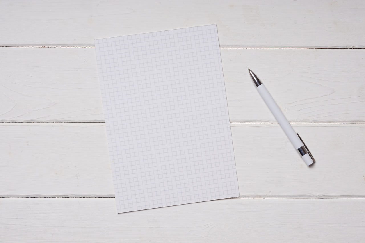 Ballpoint Pen Blank Copy Space Desk Education Empty Lined No People Notebook Notes Page Paper Pen Quadrille Table Template White White On White Wood Wooden Writing