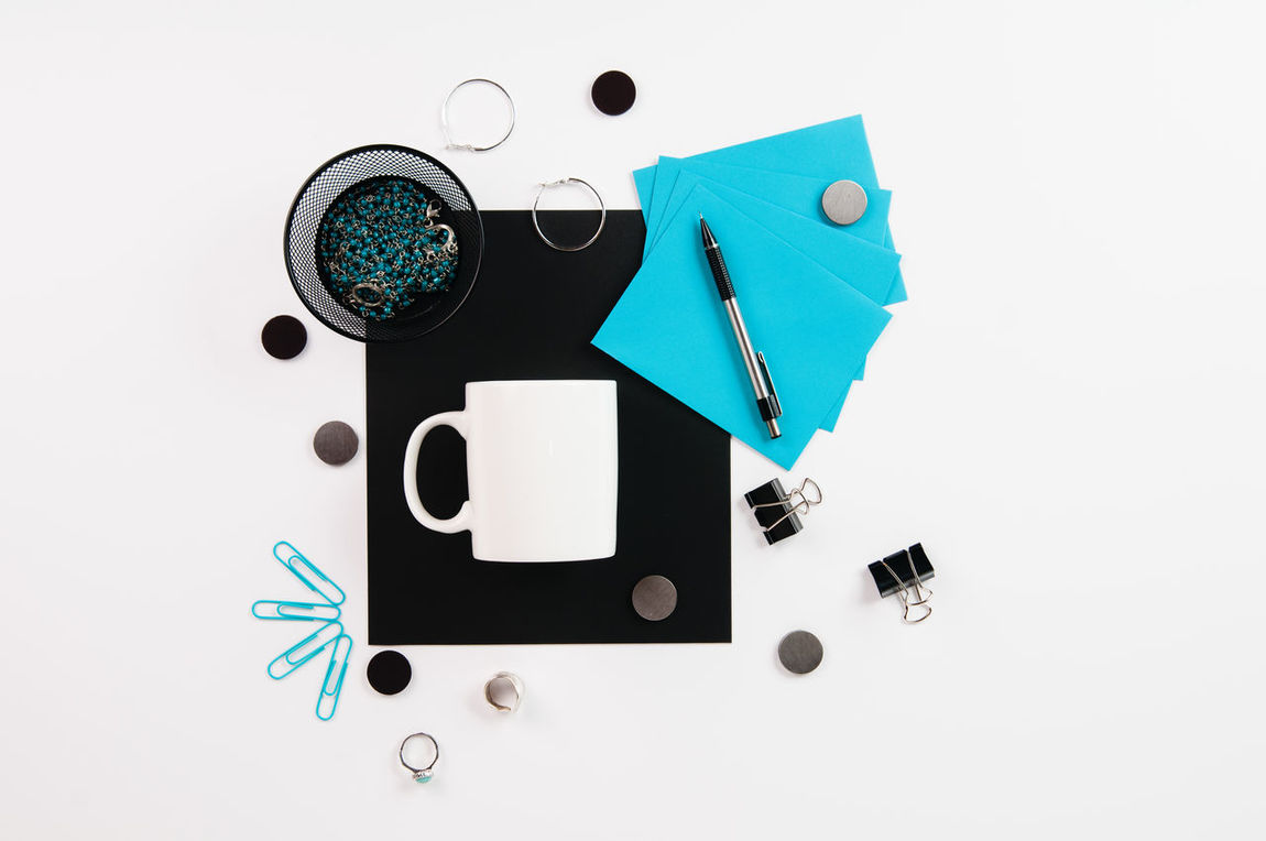 Flatlay Of Teal Colored Office Supplies Styled Stock Aqua Close Up Coffee  Mugs Day Flatlay