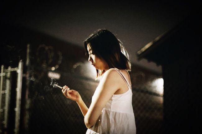 Model Smoking Cigarette  Smoke Night Urban Urban Lifestyle City Life Lights Backlight