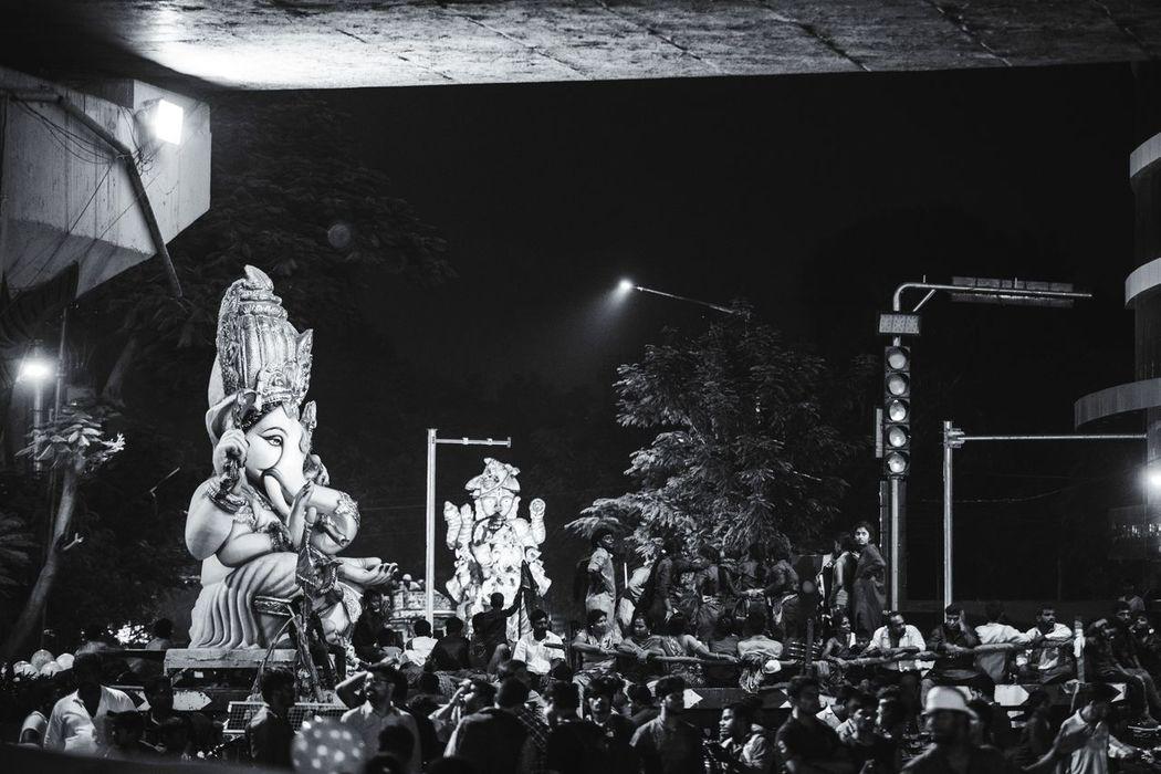 Night Illuminated Arts Culture And Entertainment Statue Low Angle View Celebration GaneshChaturthi Ganesha Chaturthi Ganesha Idols Ganesha Lord Of Success Ganesh Visarjan Hyderabad,India
