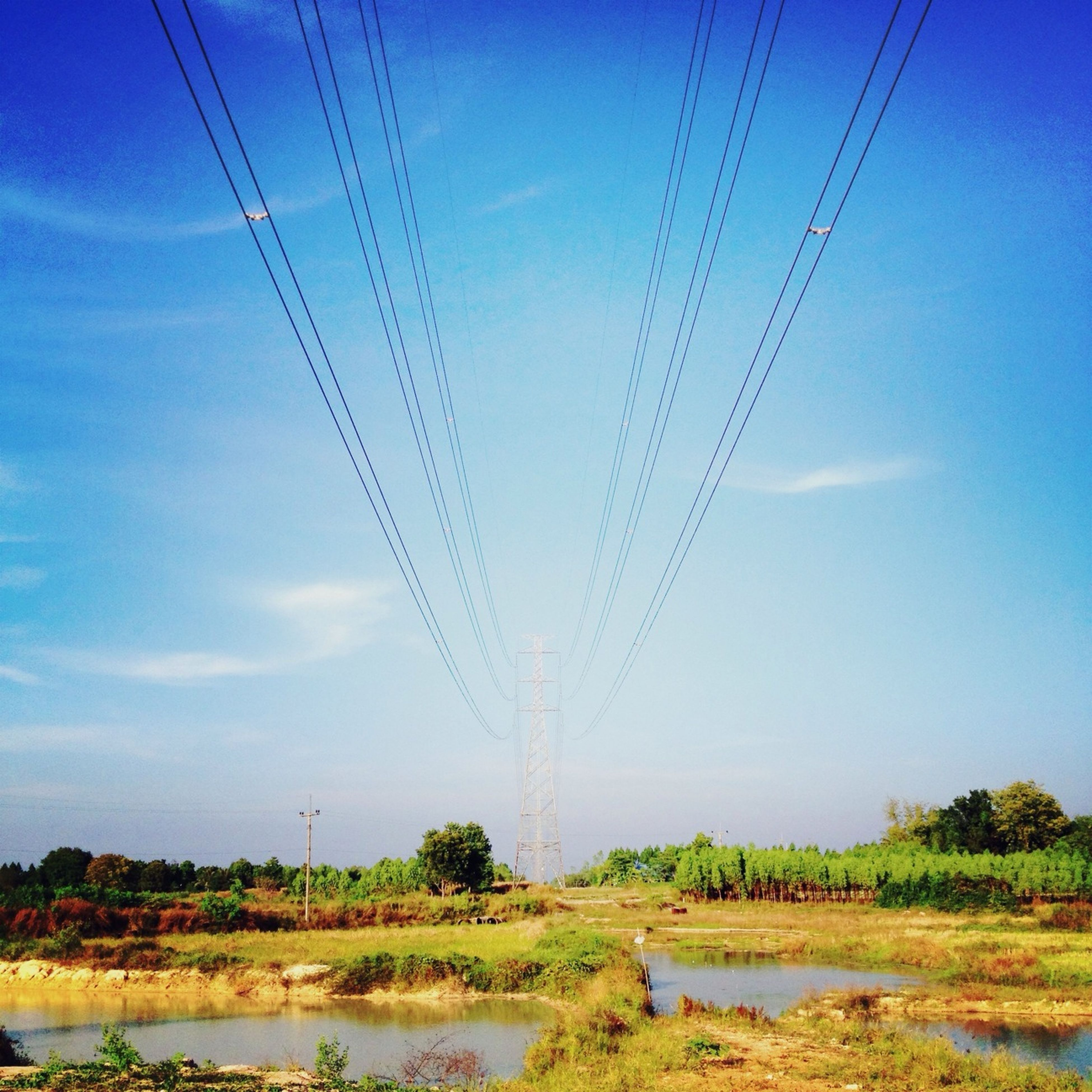 power line, electricity pylon, power supply, electricity, cable, connection, fuel and power generation, blue, sky, technology, tranquility, tranquil scene, landscape, nature, scenics, field, water, power cable, low angle view, beauty in nature