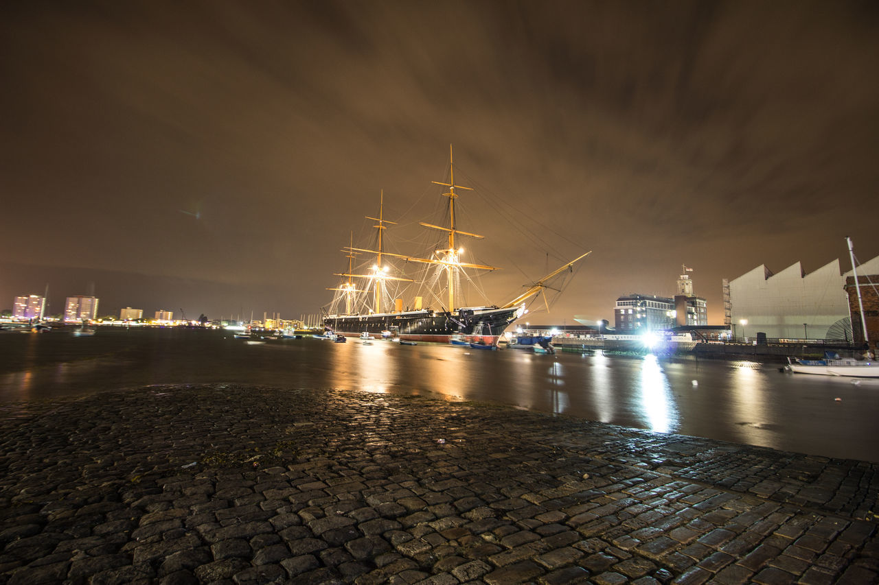 HMS Warrior in old portsmouth at night. MHS WARRIOR Strolling Through Old Portsmouth First Eyeem Photo