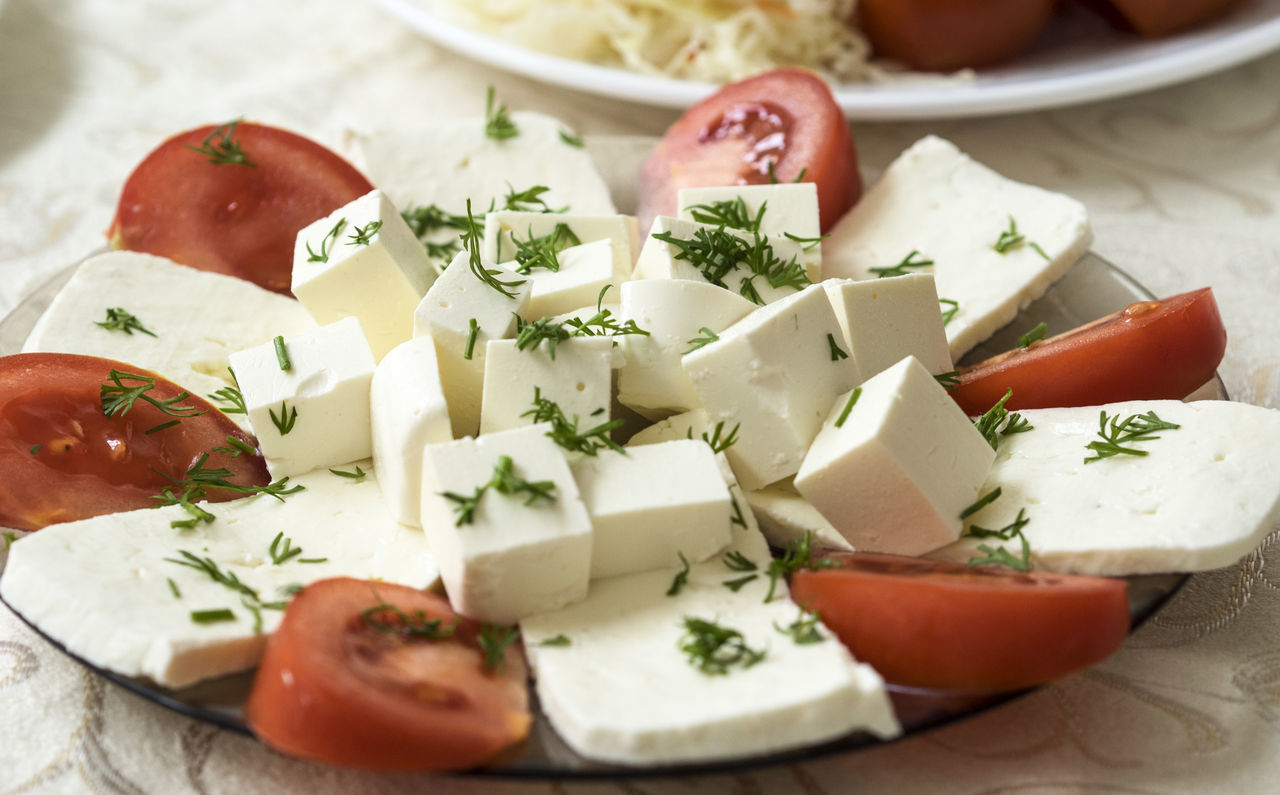 plate of soft cheese (feta and bryndza) with tomatoes Bryndza Cheese Close-up Day Feta Food Food And Drink Freshness Indoors  No People Plate Soft Tomatoes