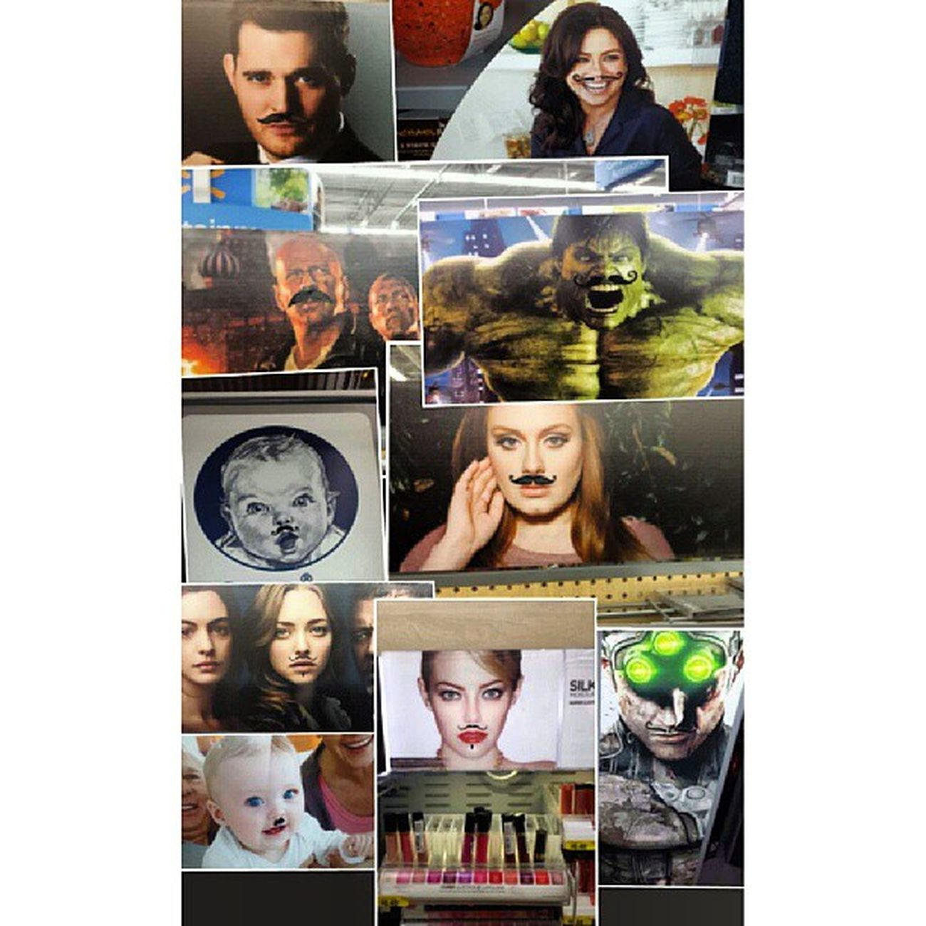 Apparently.... someone.... thought it to be hilarious to apply mustache stickers on people, randomly throughout the store.... lol. Whoever it is, HE'S Freakin nuts. Gerberbaby Michaelbuble Theincrediblehulk Thehulk lesmiserables brucewillis annehathaway splintercell Adele rachelray emmastone babyWithaHitlerStache instafunny instagood instalol walmart