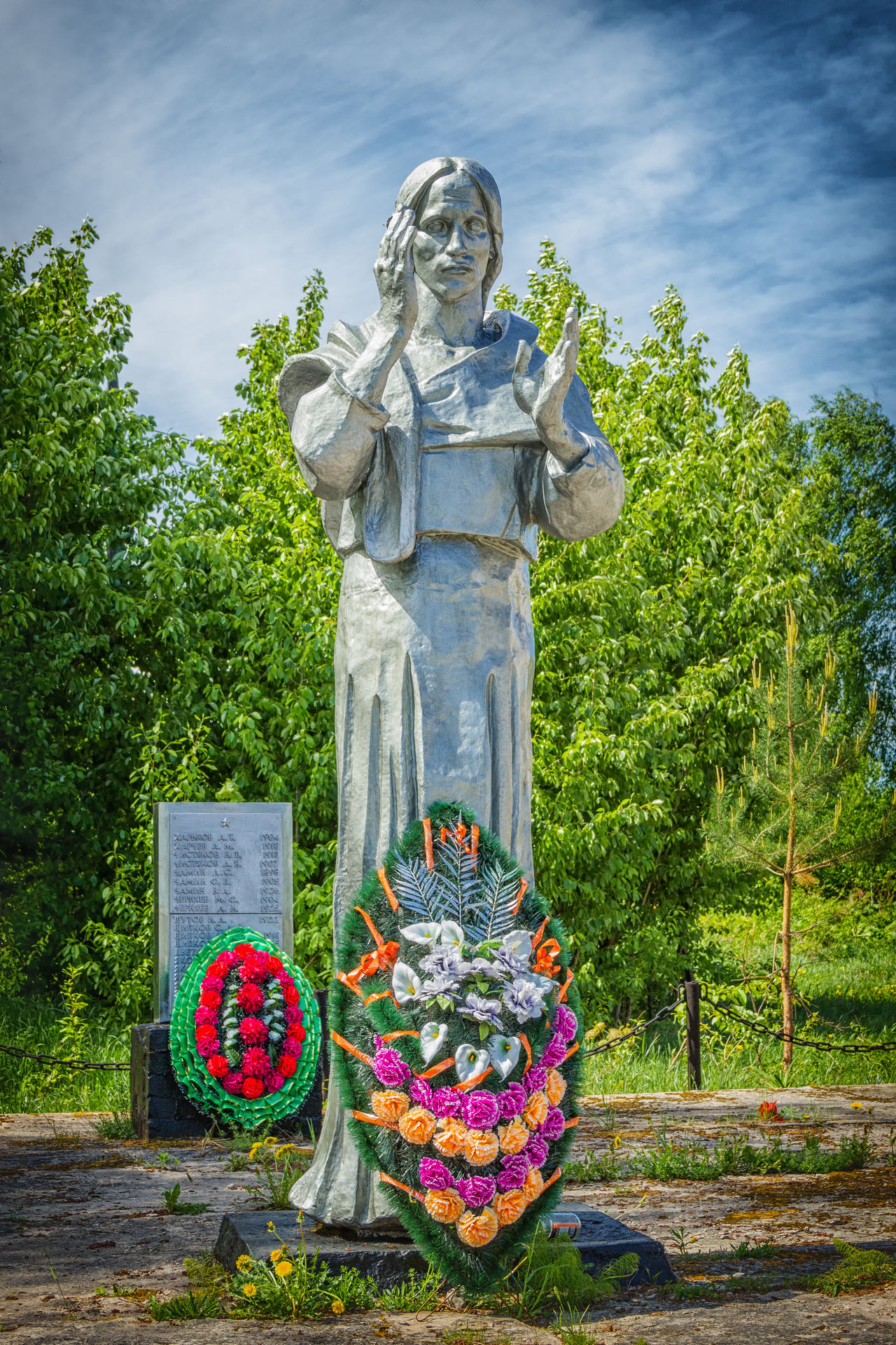 Obelisk died during the Great Patriotic War. Art And Craft Cloud - Sky Day Monument No People Obelisk Outdoors Sculpture Sky Statue Tree