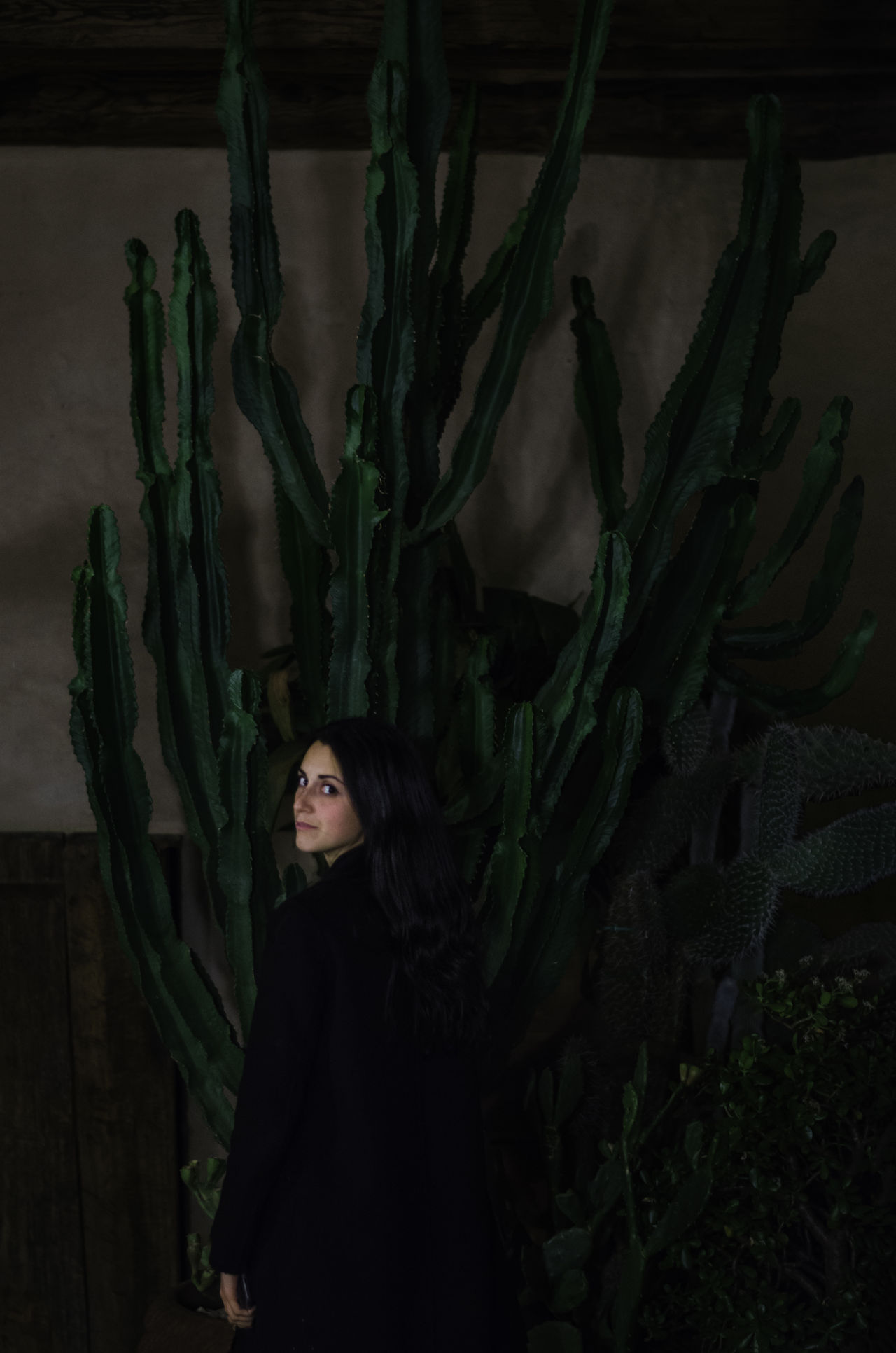Cactaceae Adult Beautiful Woman Cactus Cactus Garden Females Green Color Indoors  One Person One Woman Only One Young Woman Only Only Women People Plant Portrait Profile Women Young Women