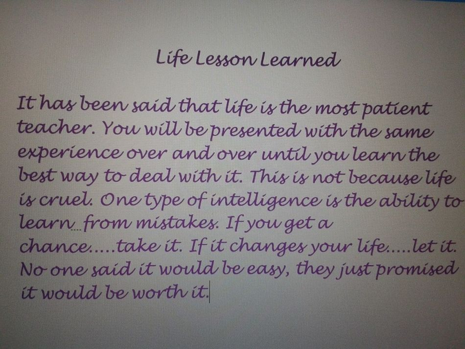 My Lesson Learned