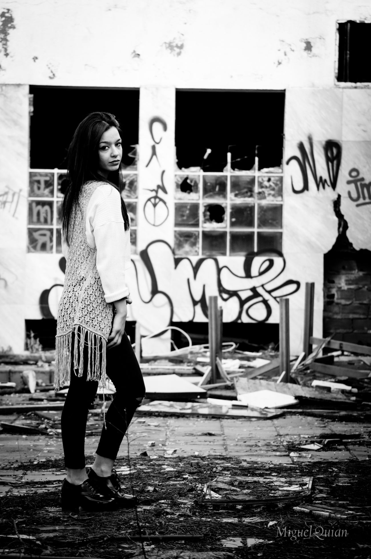 Chaos. Black & White Monochrome Blackandwhite Blanco Y Negro Model Photoshoot Galicia Graffiti Ruins A Coruña