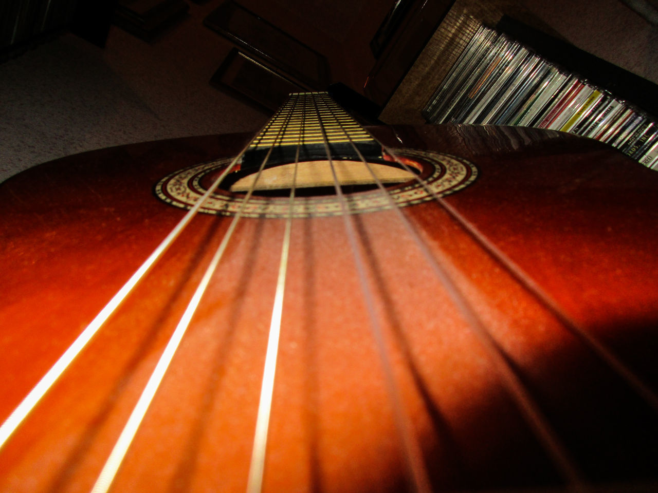 indoors, musical instrument, no people, musical instrument string, music, guitar, close-up, day