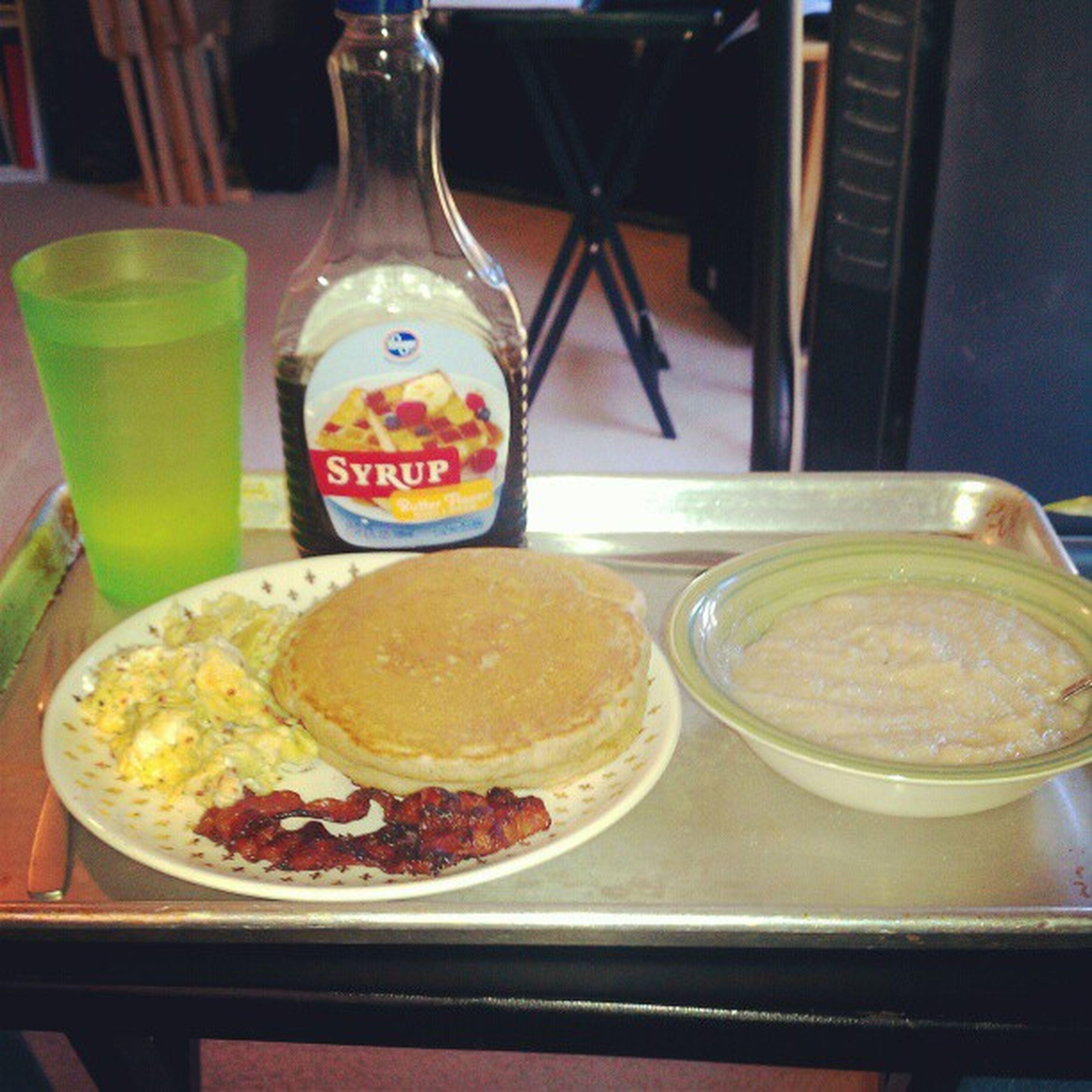 Breakfast swag! Teamcook Pancakes Eggs Bacon creamofwheat smashtime ;)