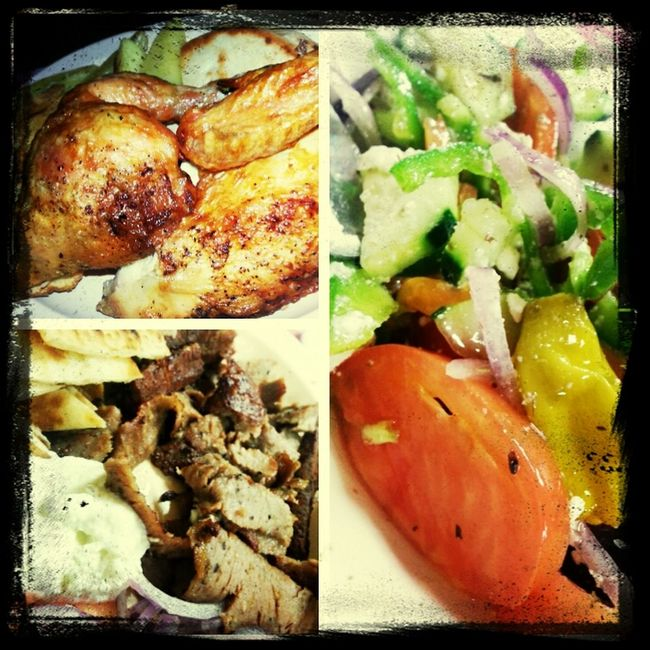 Gyro, Rotisserie Chicken, and Horiatiki. Tzatziki Yummy Greek Food