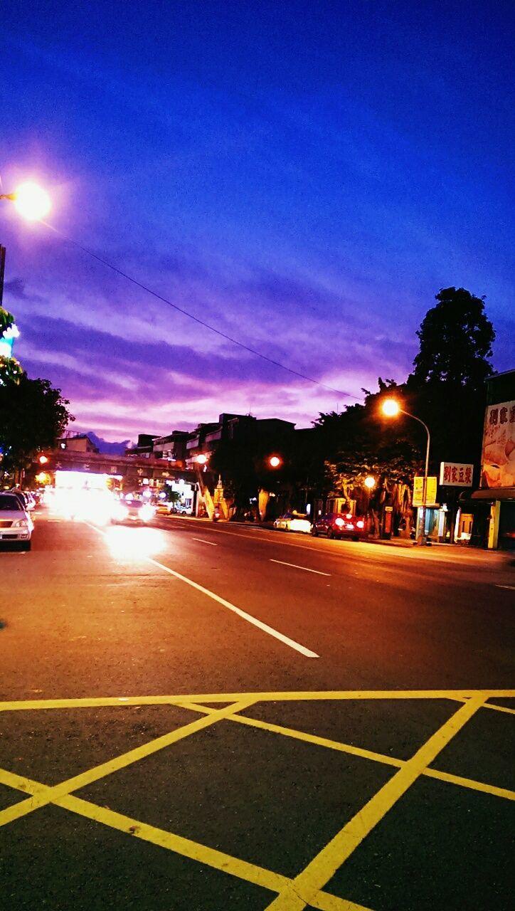 illuminated, night, transportation, architecture, road, outdoors, sky, city, no people, court