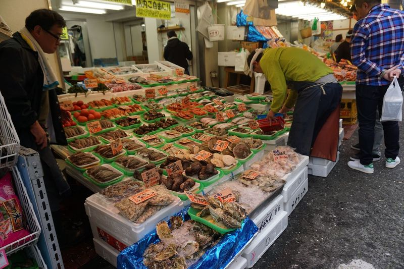 Tokyo Tokyo Tokyo Fishmarket Market Retail  Food Food And Drink For Sale Market Stall Large Group Of Objects Choice Abundance Real People Standing Variation Healthy Eating Freshness Consumerism Men Business Finance And Industry Adult Women