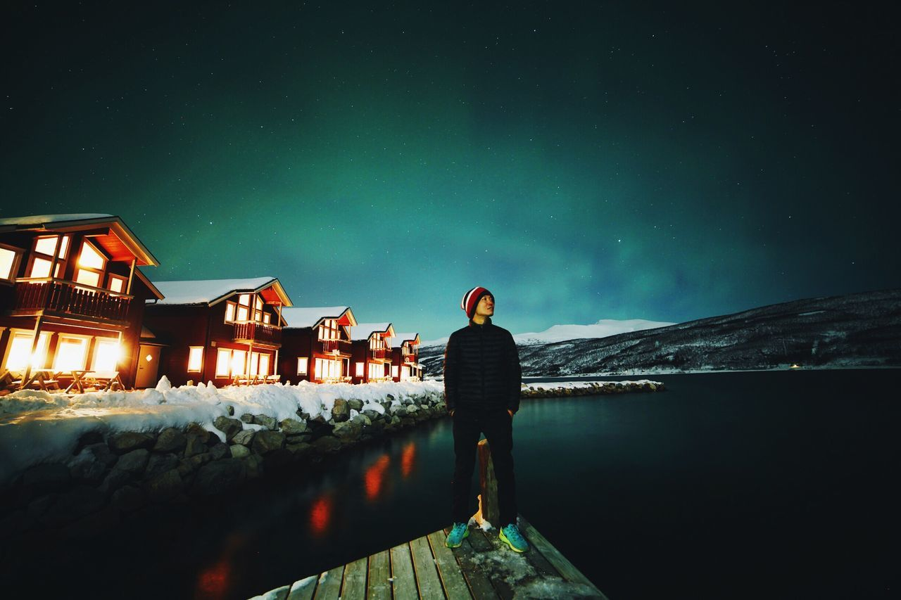 First night at Tromso, Norway. What a lucky day. That's me! ThatsMe Aurora Aurora Borealis Northern Lights Tromso Norway Green Light Phenomenon Europe Selfie ✌