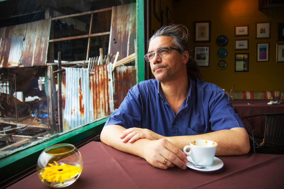 Coffiee Time Contrast Glasses Head And Shoulders Indoors  Lifestyles Man Portrait Real People Thailand Thoughtful Tourist