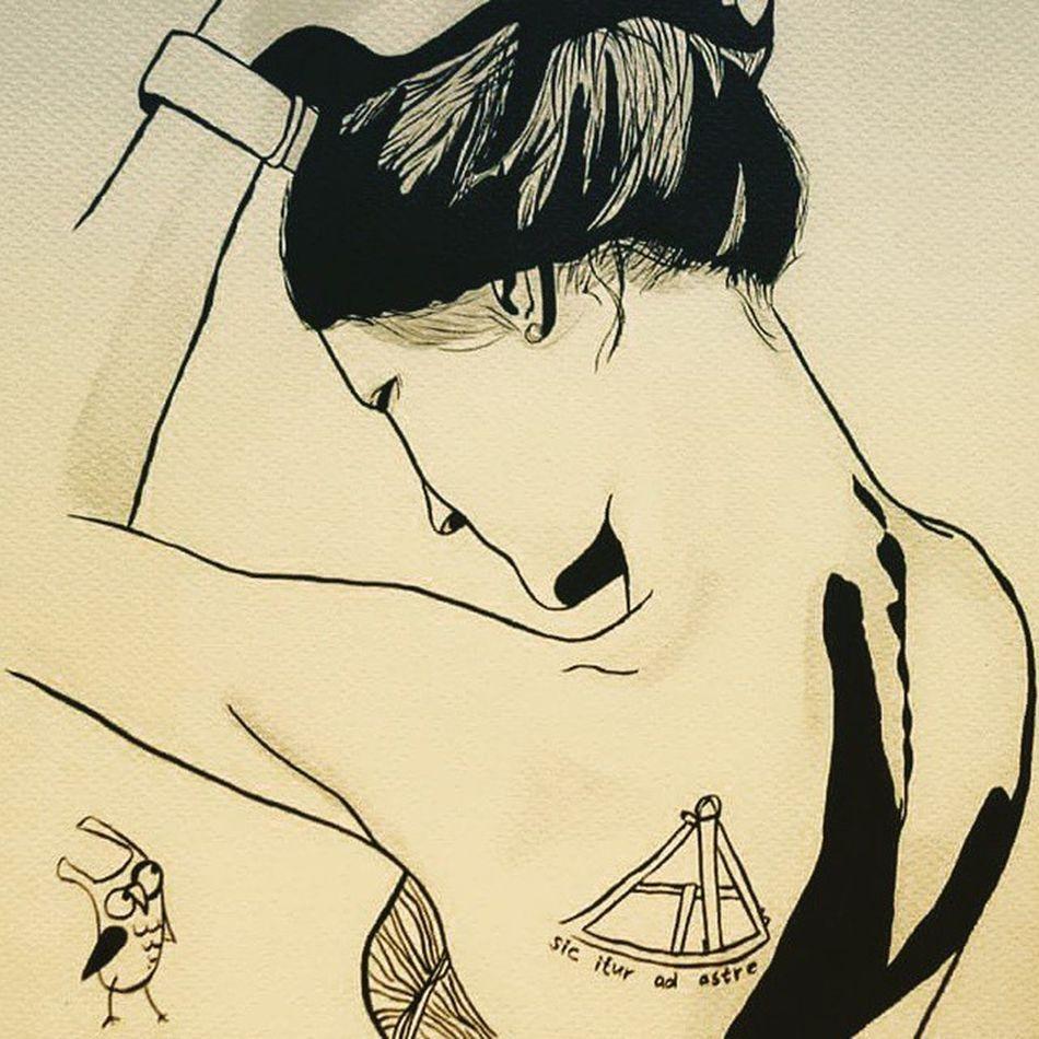 У меня день рождения ибо Настя @skovsky, точнее @picspocsofficial нарисовала меня, или точнее мое тату🙈😍✒ Picspocs Picspocsofficial Sextant Owl Owlbob секстан секстант Ink тушь Inkdrawing