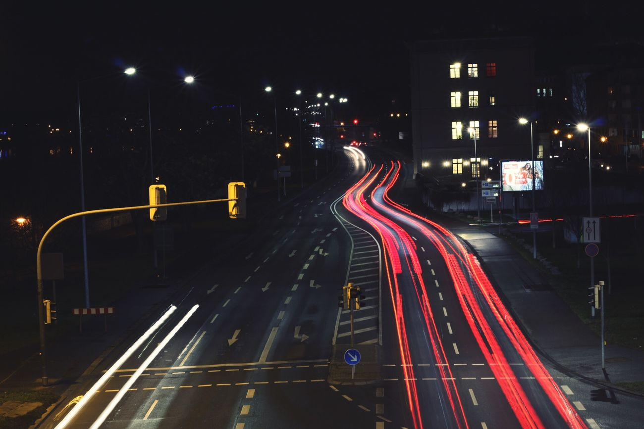 Night City Illuminated Light Trail Transportation Street Light Traffic Road Long Exposure Red City Life Curve Car Highway No People Road Sign Outdoors Speed Magdeburg Lights Cars EyeEmNewHere View Nice Lifestyles