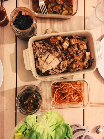 Pork Bossam Korean Food Food Food And Drink Freshness Indoors  Variation High Angle View Vegetable Ready-to-eat Close-up No People Healthy Eating
